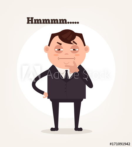 449x500 Office Worker Businessman Character Suspect And Thinking. Vector