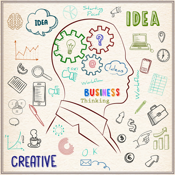 600x600 Business Thinking Vector Design With Person Illustration Free