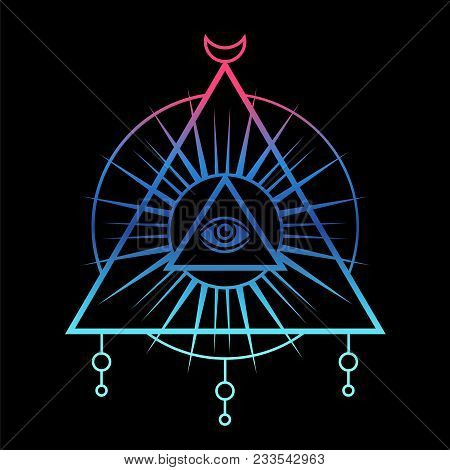 450x470 All Seeing Eye Symbol. Sacred Geometry, Third Eye. Tattoo Mystic