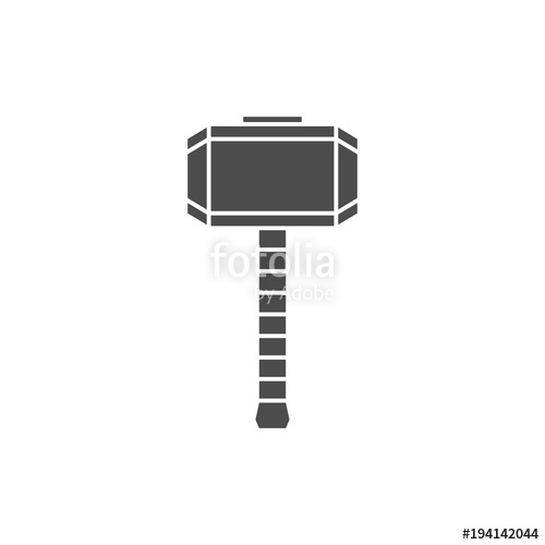 500x500 Hammer Of Thor Silhouette, Mjolnir Icon. Stock Image And Royalty