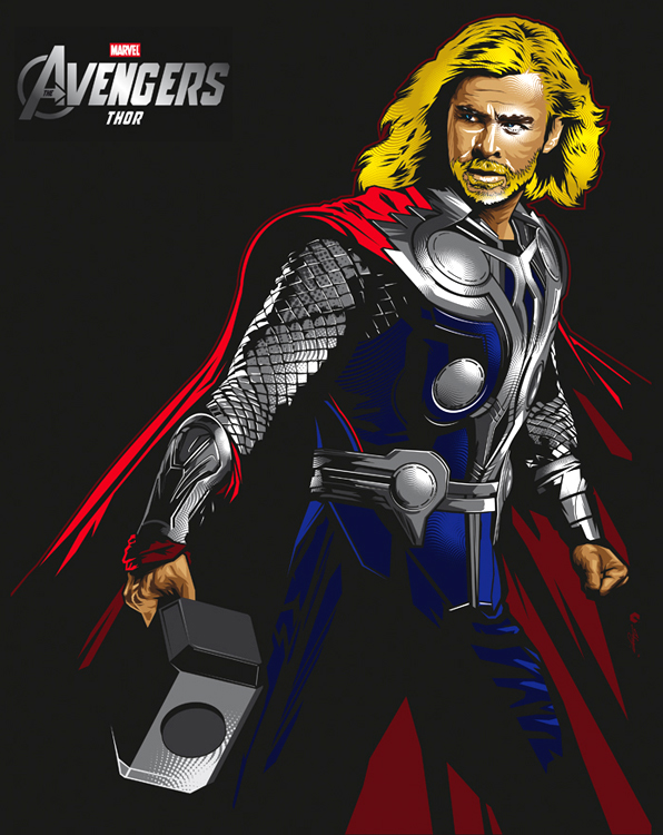 596x750 Thor Vector Illustrations For Marvel