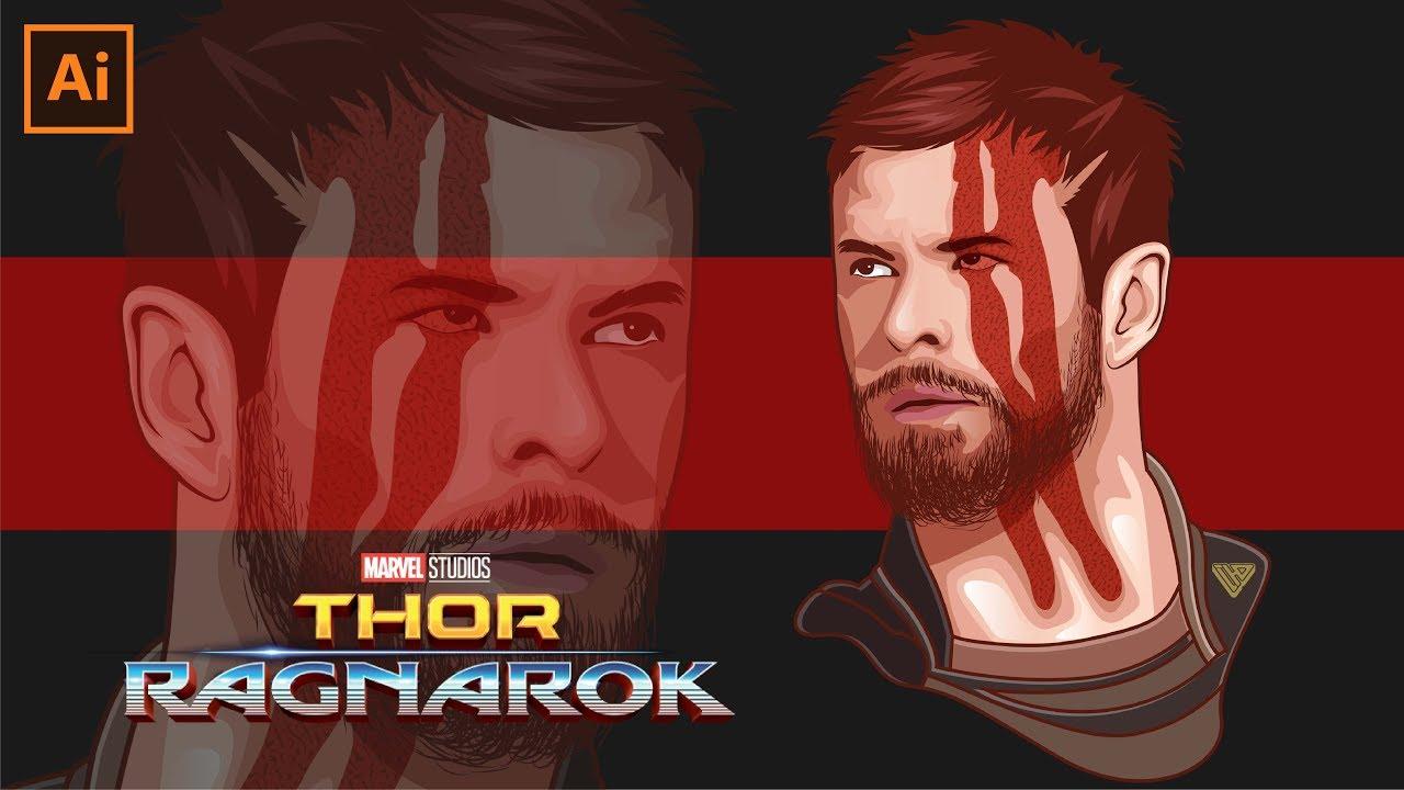 1280x720 Draw Vector Portrait Thor Ragnarok Adobe Illustrator Cc 2017