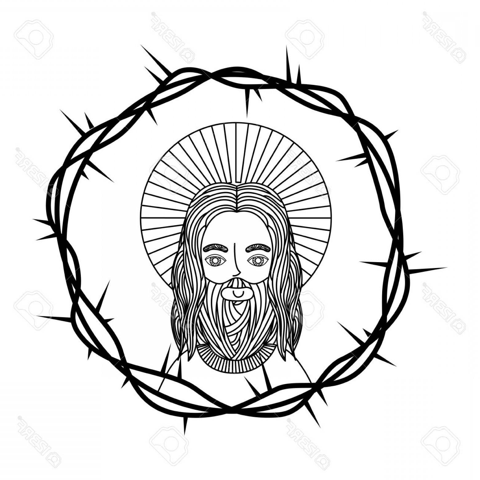 1560x1560 Photostock Vector Engraving Face Sacred Jesus Crown Thorns Vector