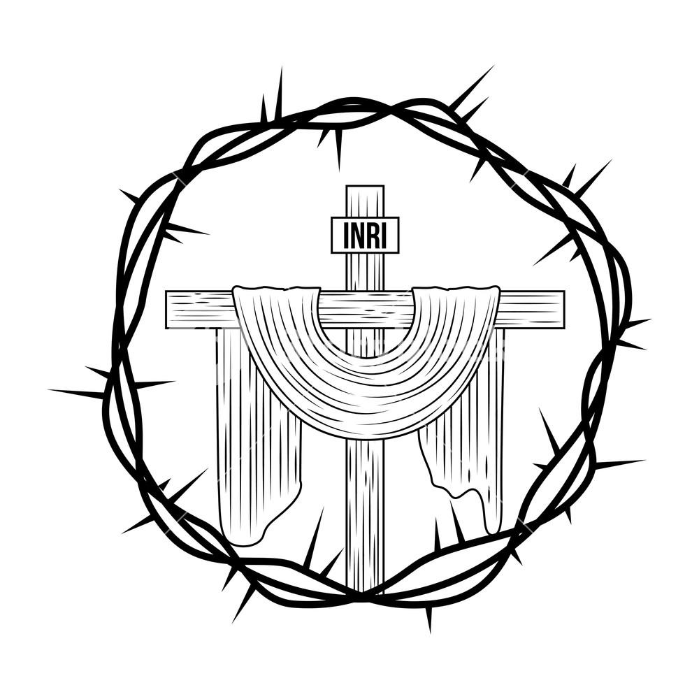 1000x1000 Engraving Sacred Cross Crown Thorns Vector Illustration Royalty
