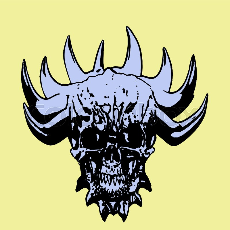 800x800 Demon Skull With Corona Of Thorns. Vector Illustration. Yellow