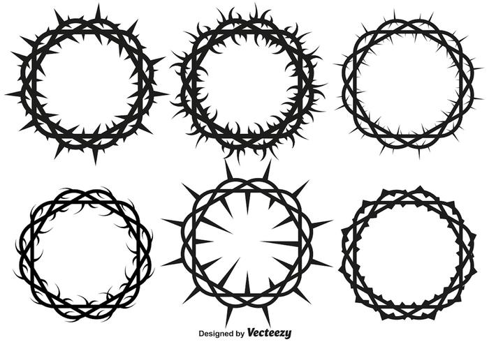 700x490 Vector Crown Of Thorns Set For Lent And Easter