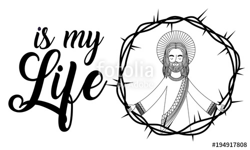 500x300 Jesus Is My Life Praying Crown Thorns Vector Illustration Stock