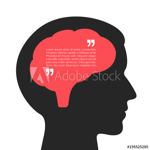 500x500 Human Brain And Thought Bubble Vector Poster