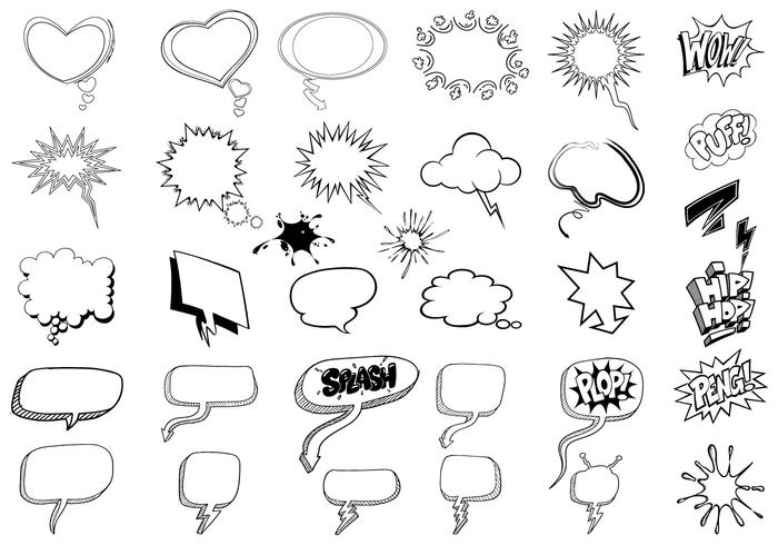 700x490 Sketchy Thought Bubble Vector Pack