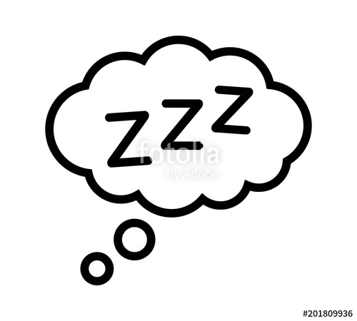 500x450 Sleeping, Zzz Or Slumber In Thought Bubble Vector Icon For Sleep