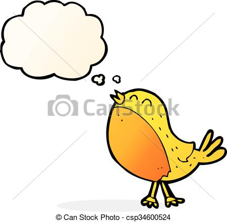 450x440 Cartoon Singing Bird With Thought Bubble.