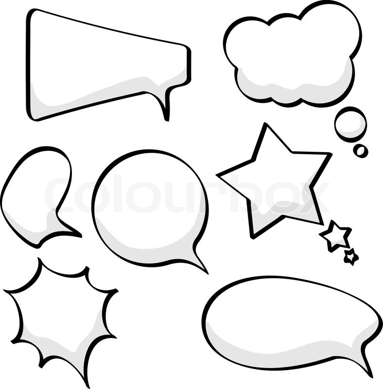 788x800 Cartoon Sketchy Speech And Thought Bubbles Isolated On White