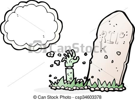 450x332 Cartoon Zombie Rising From Grave With Thought Bubble.