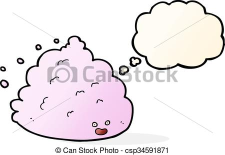 450x310 Cartoon Cloud Character With Thought Bubble.