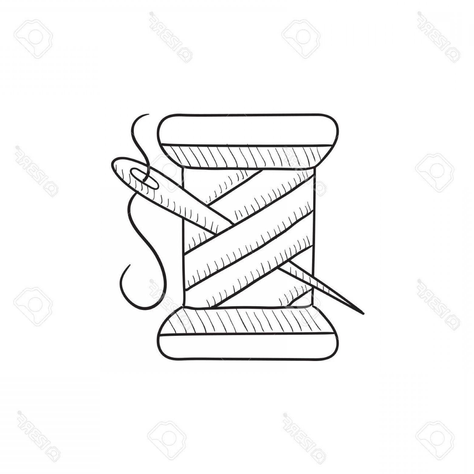 1560x1560 Photostock Vector Spool Of Thread And Needle Vector Sketch Icon