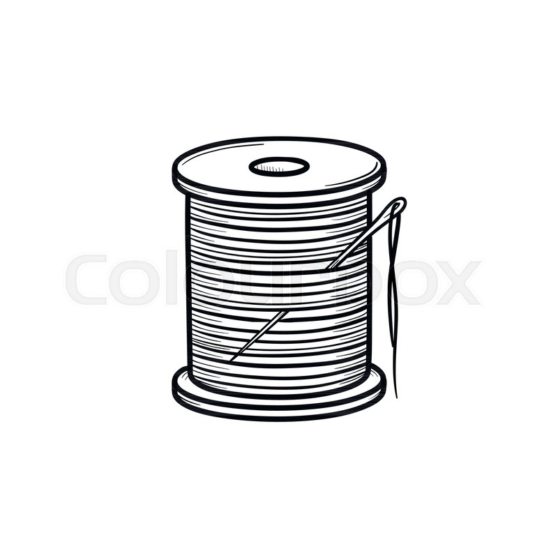 800x800 Thread Spool With Needle Hand Drawn Outline Doodle Icon. Cotton
