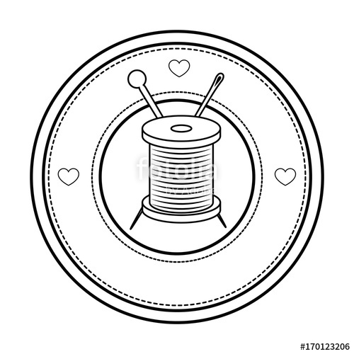 500x500 Seal Stamp With Thread Spool And Needle Icon Over White Background