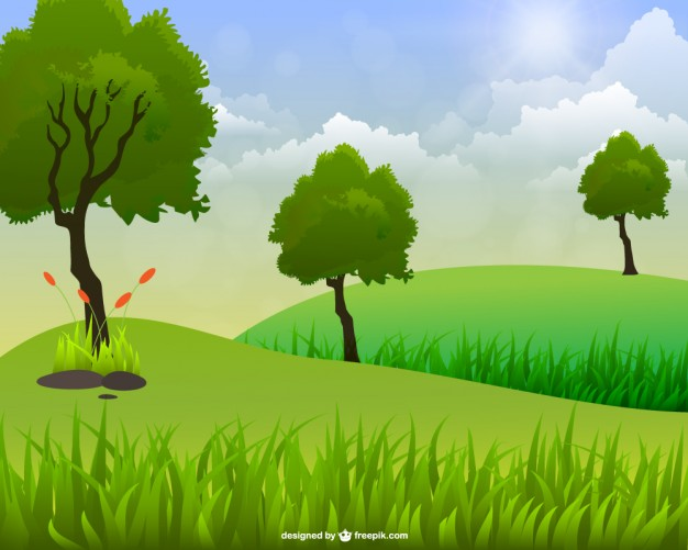 626x501 Green Landscape With Three Trees Vector Free Download