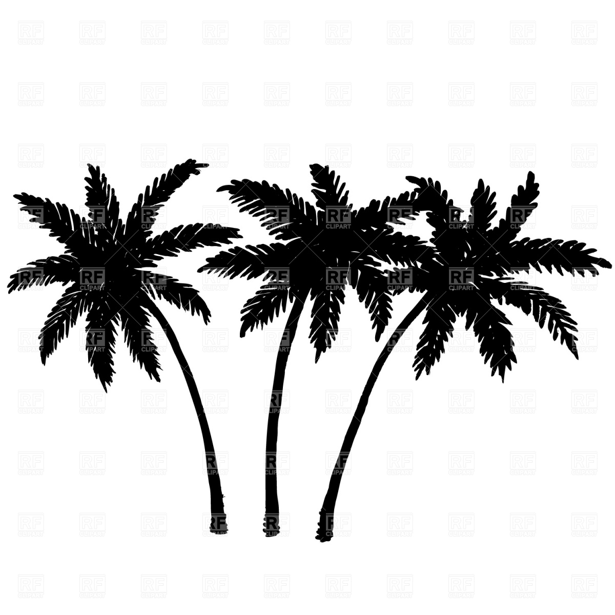 1200x1200 Three Palm Trees Silhouette Vector Image Vector Artwork Of
