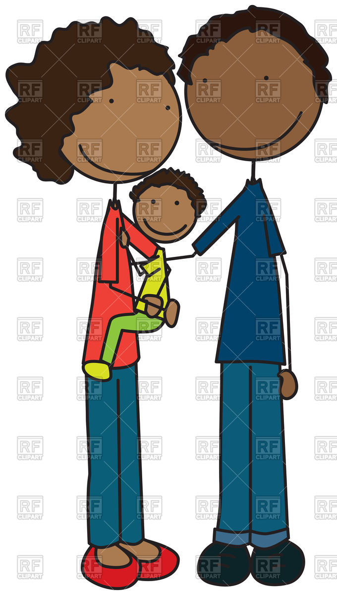 680x1200 Cartoon Illustration Of Family Of Three Vector Image Vector