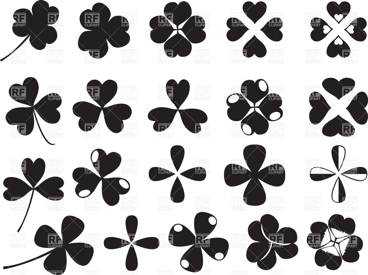 1200x896 Four And Three Leaf Clover Silhouettes Vector Image Vector