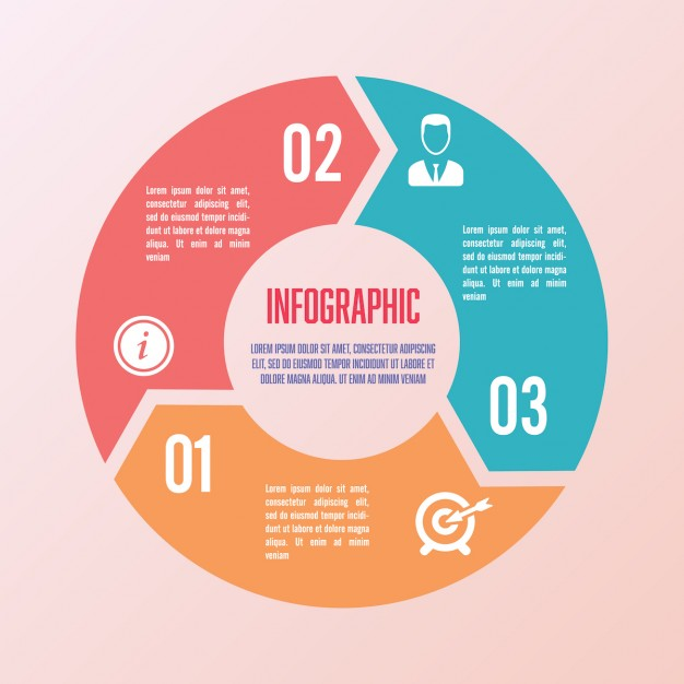 626x626 Circular Infographics With Three Sections Vector Free Download