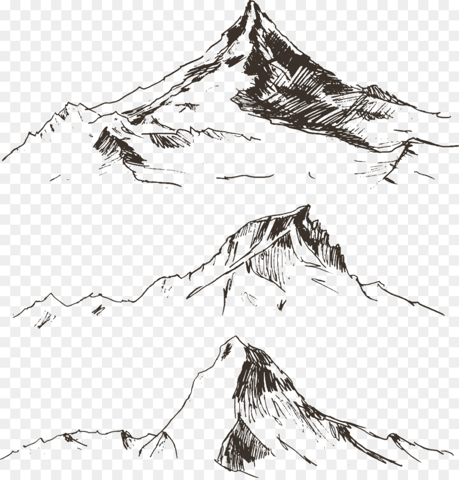 900x940 Drawing Mountain Royalty Free Illustration