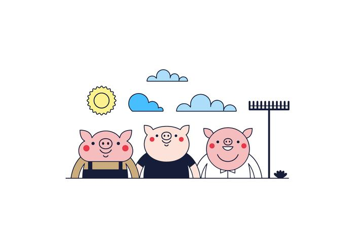 700x490 Free Three Little Pigs Vector