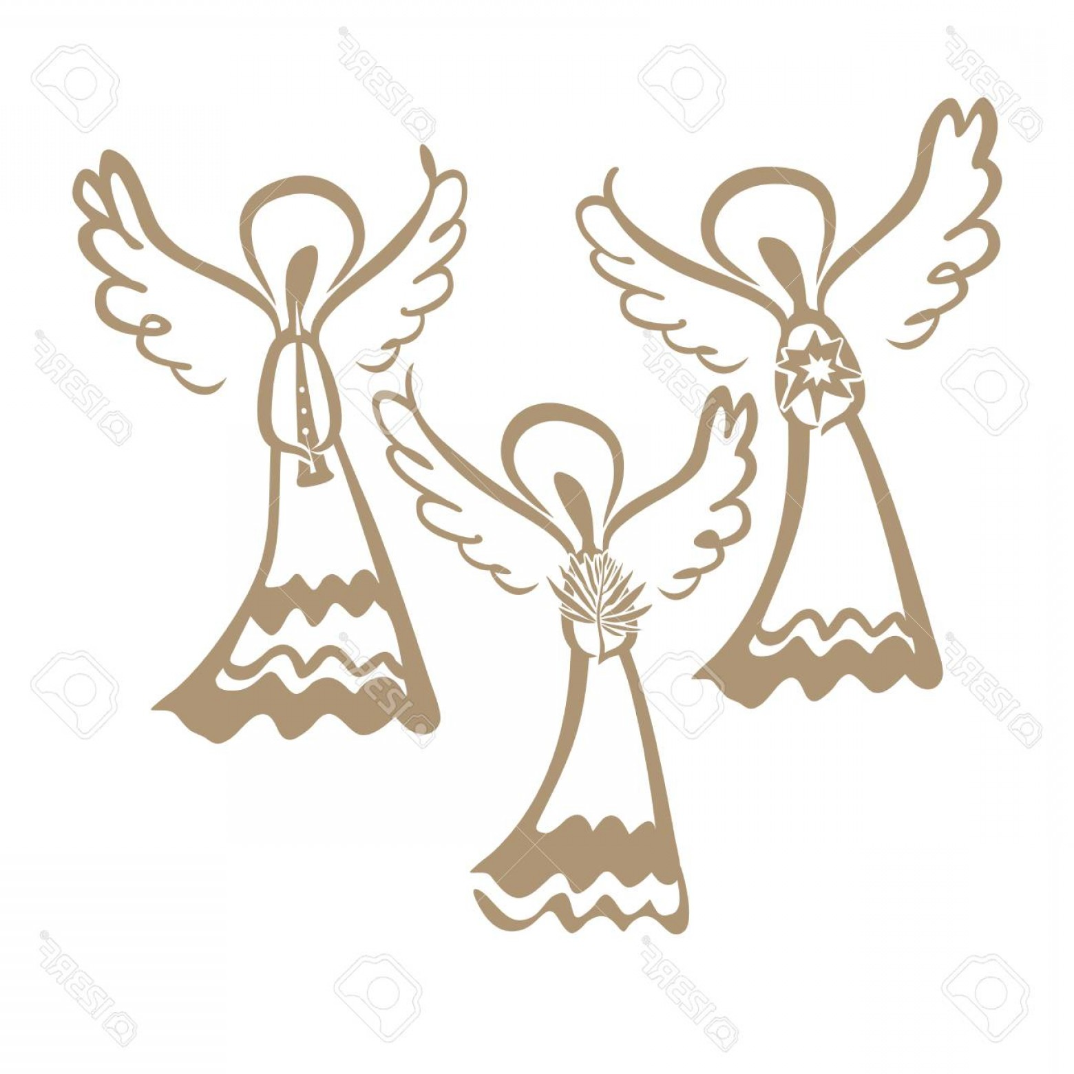 1560x1560 Photostock Vector Three Winged Angels Pipe Palm Branch And Star