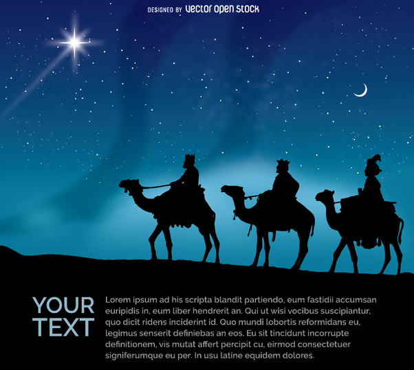 602x539 The Three Wise Men Riding Their Camels At Night Free Vector