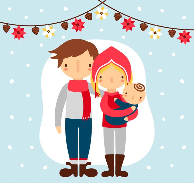 782x737 A Family Of Three Cartoon Christmas Vector Free Vector Graphic