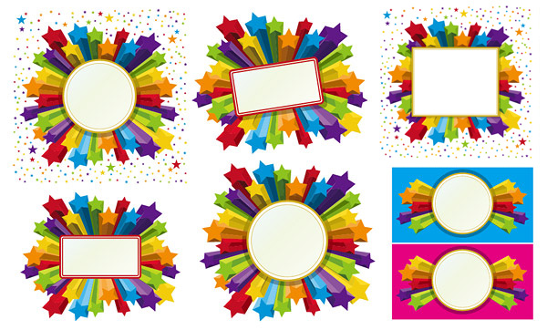 600x362 Three Dimensional Star Frame Vector Free Download