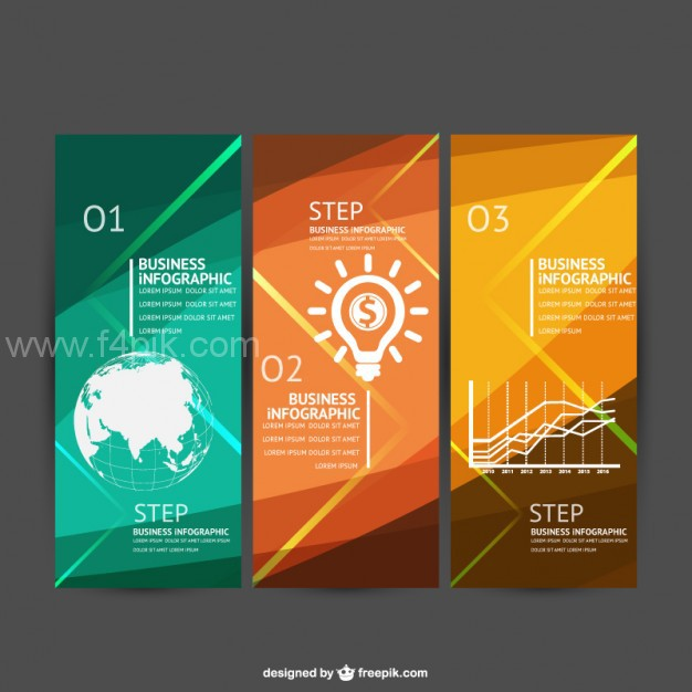 626x626 Vector ] Three Steps Business Infographics Free Download