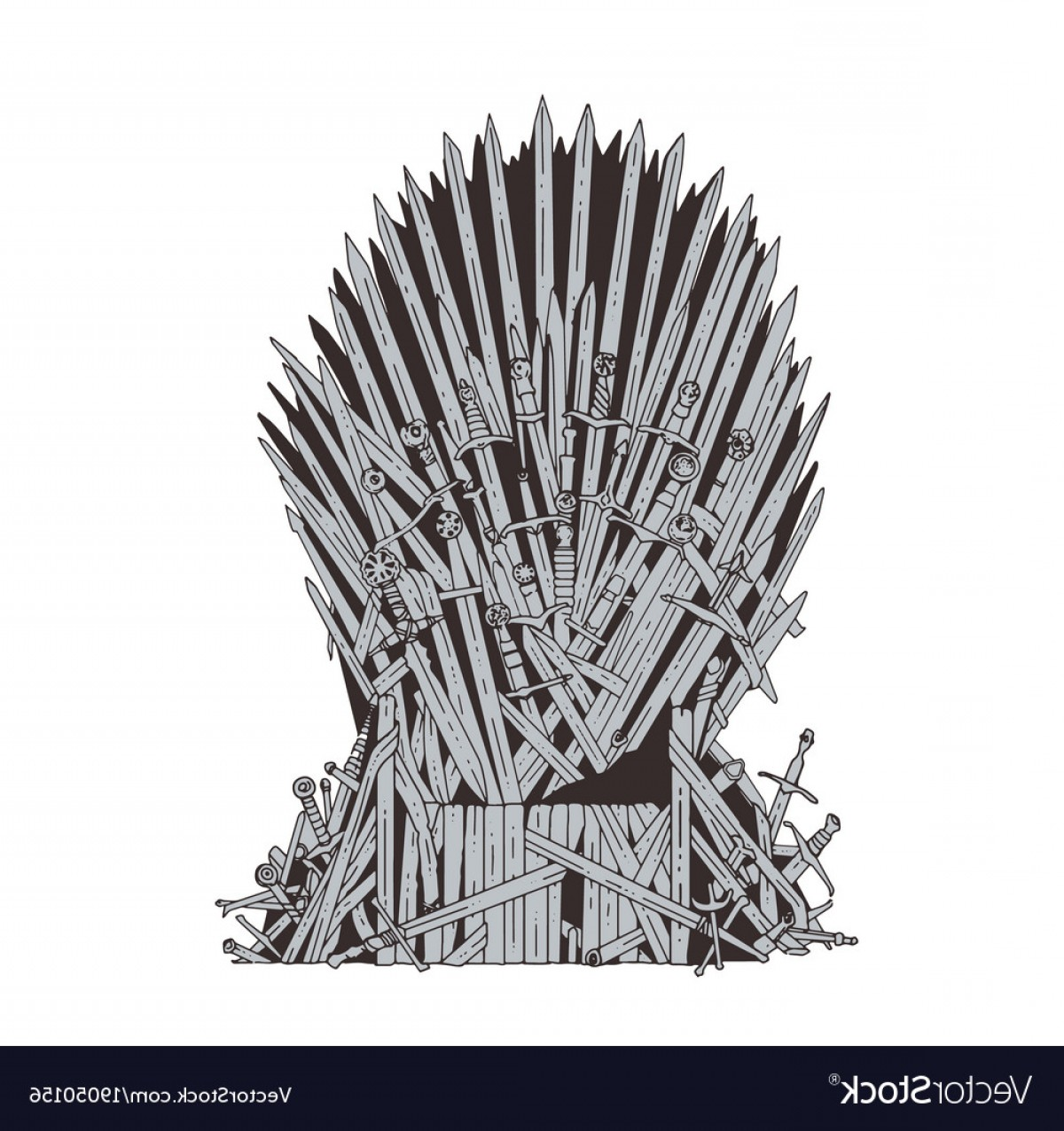 1200x1276 Hand Drawn Iron Throne Of Westeros Made Of Antique Vector