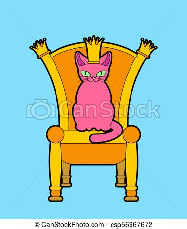 384x470 Cat On Throne. Regal Pet Boss. Royal Chair. Vector Illustration.