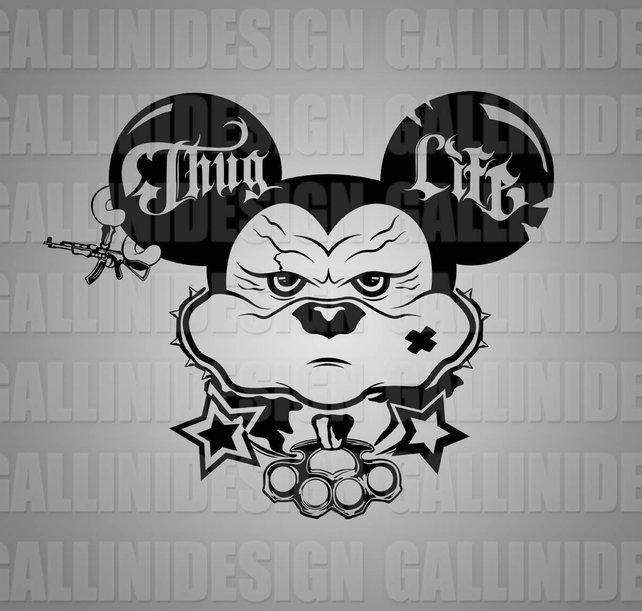 642x611 Thug Life Shirt Design Bad Mickey Mouse Svg Png Custom T Shirt Etsy