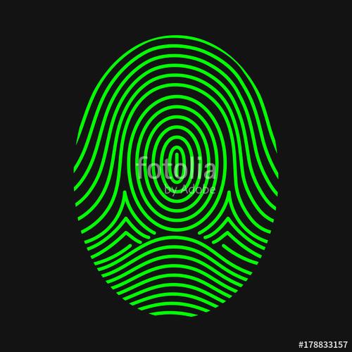 500x500 Green Fingerprint. Thumbprint. Vector Illustration Stock Image
