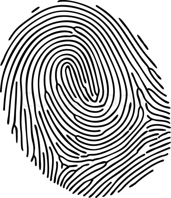 693x800 Vector Black Fingerprint On White Background Stock Vector