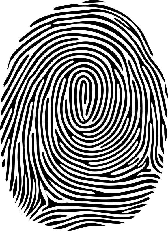 582x800 Vector Black Isolated Fingerprint On White Background Stock