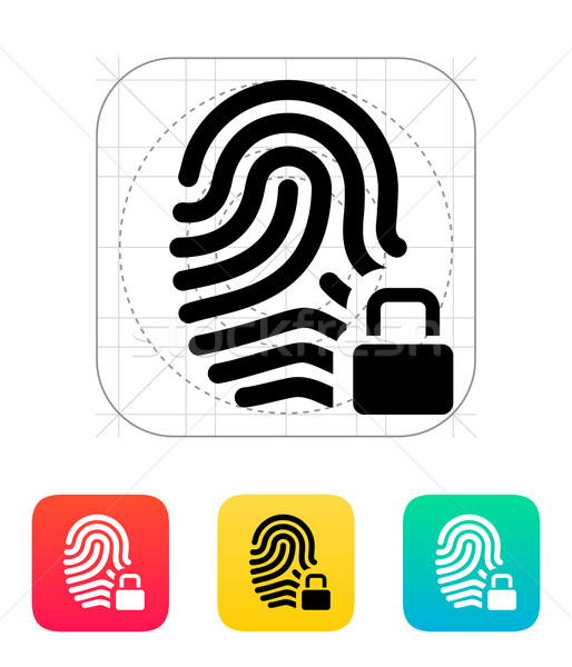 514x600 Fingerprint And Thumbprint With Lock Icon. Vector Illustration