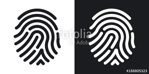 500x250 Fingerprint Icon. Simple Vector Illustration On Black And White
