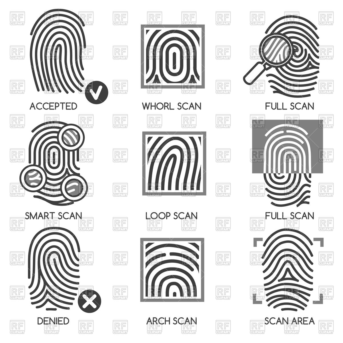 1200x1200 Fingerprint Pass Icons Or Thumbprint Identification Icons Vector