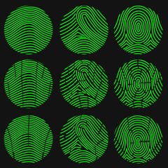 240x240 Green Fingerprint. Thumbprint. Vector Illustration
