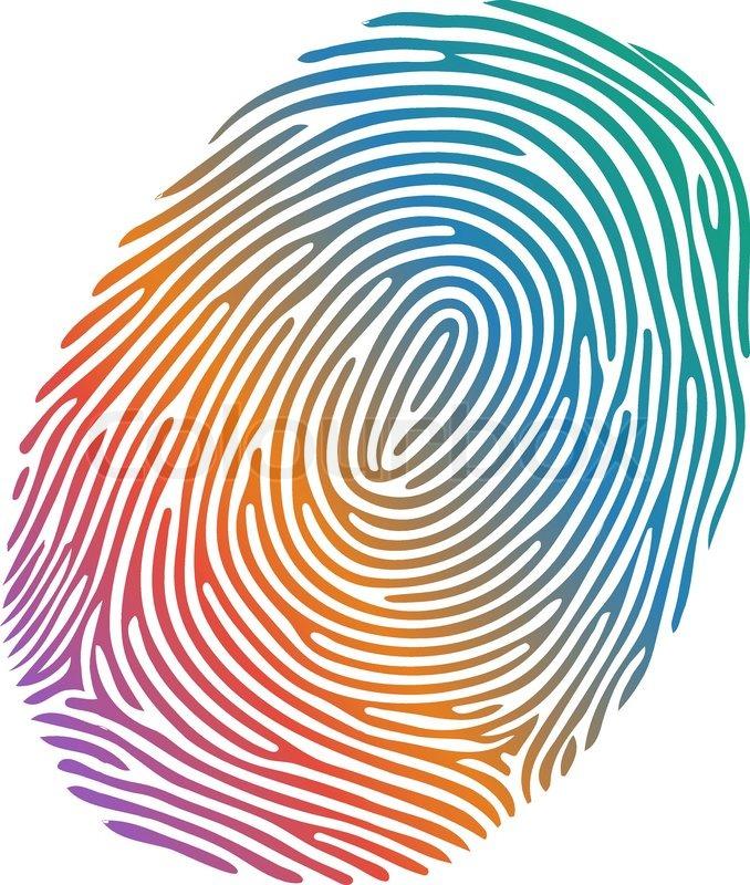 678x800 Vector Many Coloured Fingerprint On White Background Stock