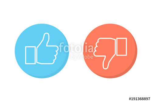 500x334 Like And Dislike Icons Set. Thumbs Up And Thumbs Down. Vector