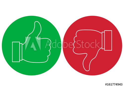 500x350 Like And Dislike Icons Set. Thumbs Up And Thumbs Down.vector Round