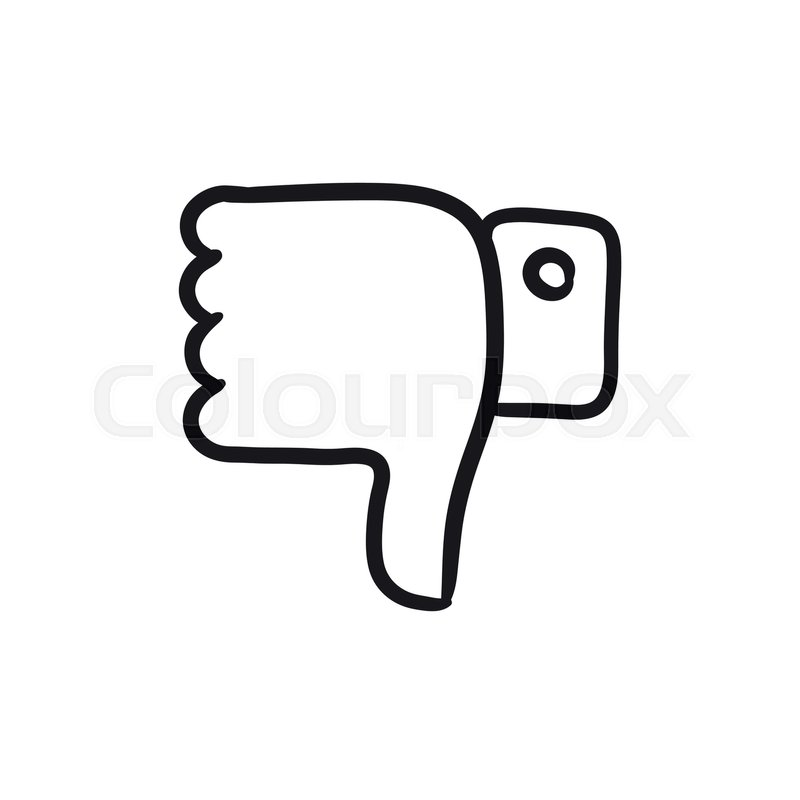 800x800 Thumbs Down Vector Sketch Icon Isolated On Background. Hand Drawn