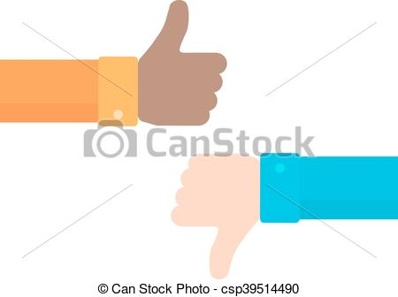 450x336 Thumbs Up And Down Vector Icon In Flat Style. Concept Of Positive