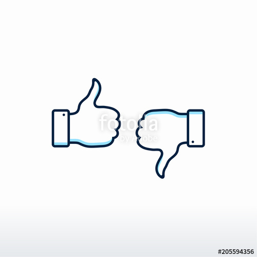 500x500 Thumbs Up And Thumbs Down. Vector, Like And Dislike Icon Vector