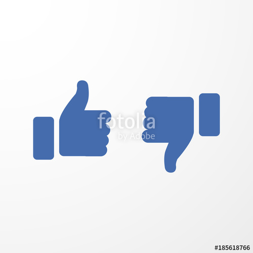 500x500 Blue Thumbs Up And Thumbs Down. Vector Illustration Stock Image